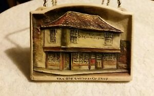 "Rare 1900 Osbourne Ivorex Plaque ""the Old Curiosity Shop"" 4.5 By 3.5 Inches Harmonious Colors Decorative Arts"