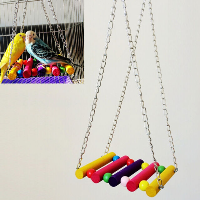 Colorful Bird Parrot Parakeet Budgie Cockatiel Cage Hammock Swing Toys Hanging