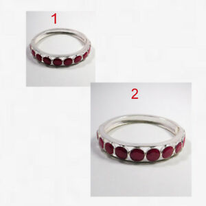 Ruby-Clutch-Lock-Cuff-Bracelet-925-Sterling-Silver-Jewelry-2-3-034-amp-3-034-MB1323