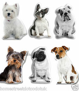 Details about Dog Shaped Photo Cushions With Bulldog,Pug,Terrier,  Westie,Yorkie Labrador Breed
