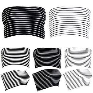 Womens-Ladies-Horizontal-Stripes-Strapless-Boobtube-Bandeau-Vest-Bra-Cropped-Top