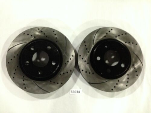 Premium Drilled and Slotted Disc Brake Rotors Pair 05 to 12 Corvette Front Set
