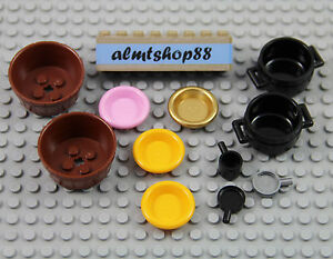 LEGO Lot of 2 Black Minifig Cooking Pot Accessories