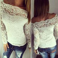 Women Lace Tops Flore Tee Long Sleeve Shirt Casual BlouseT-shirt Size 6-16 #01