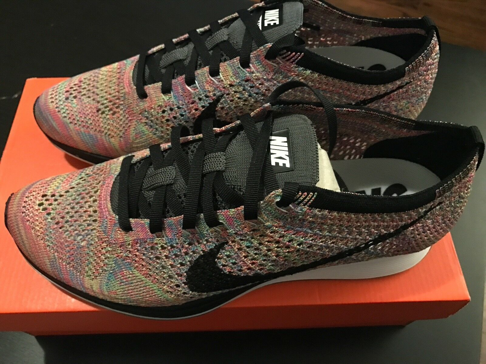 New - Nike Flyknit Multicolor Yellow Rainbow Running Racer 2.0 - Men Size 9.5