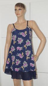 Kleid Damen blau ärmellos Sommer blau Blumen 38 (1503D ...