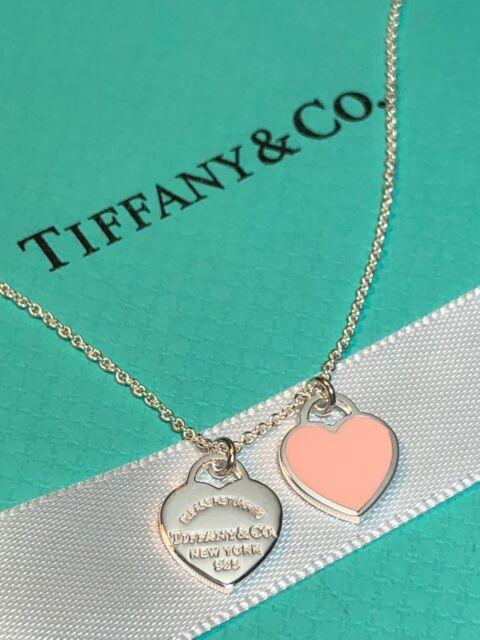 Return to Tiffany Pink Enamel Mini Double Heart Tag 16