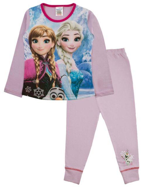 536d85e26b8 Girls Disney Frozen Pyjamas Kids Elsa Anna Character PJs 2 Piece ...