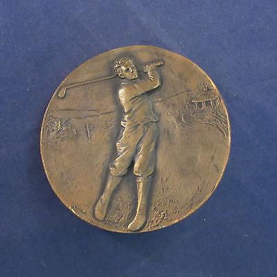 Vintage Bronze / Coffee Golf / Golfer Medallion Plaque