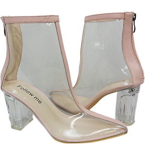 6cd767e9a29 NEW WOMENS CLEAR PERSPEX GLASS HIGH MID HEELS ANKLE BOOTS SHOES SIZE ...