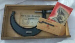 Vintage-1950-Starret-Satin-Chrome-Micrometer-No-436-w-Box-Paper-amp-Adj-Tool