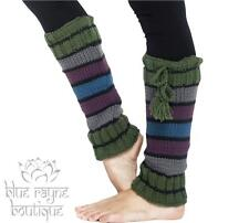 Fair Trade Hippie BoHo Fleece Lined Striped Sweater Leg / Arm Warmers Boot Socks
