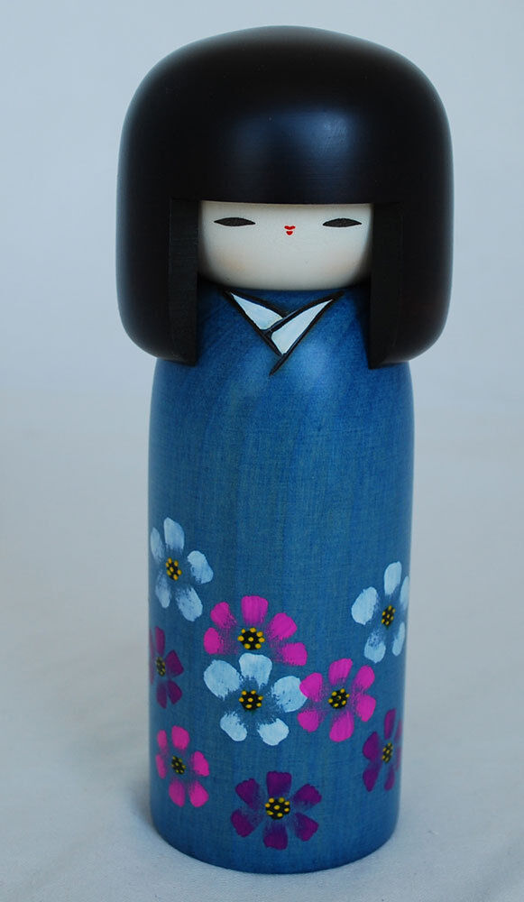 Japanese Kokeshi Doll - Handmade in Japan - Kosumosu - Cosmos Flower
