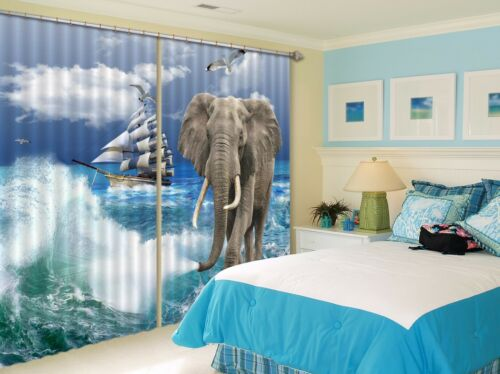 3D Elephant 76 Blockout Photo Curtain Printing Curtains Drapes Fabric Window AU