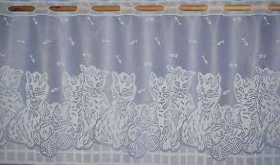CATS MOTIFS WHITE CAFE NET CURTAIN BY METRE CHILDRENS BEDROOM BATHROOM