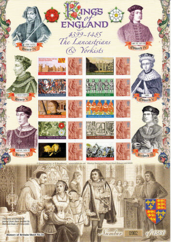 BC132 Kings of England 13991485 Smilers Stamp Sheet