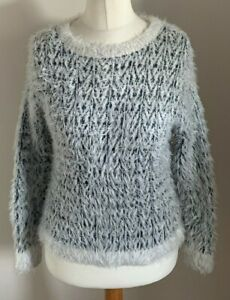 River-Island-Size-10-Ladies-Long-Sleeve-Multicoloured-Fluffy-Jumper-Top