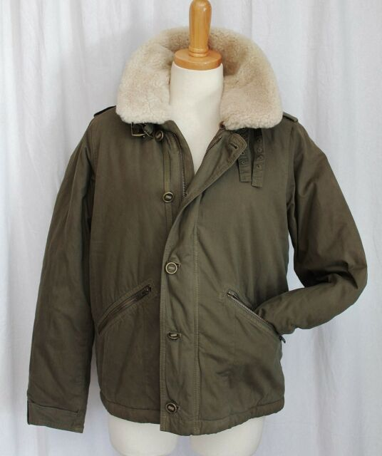 J CREW COLLECTION SHEARLING TRIM BOMBER/AVIATOR JACKET DARK OLIVE MEDIUM NWT