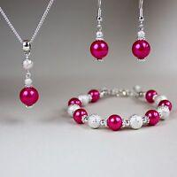 Hot pink pearl necklace bracelet earring silver wedding bridesmaid jewellery set