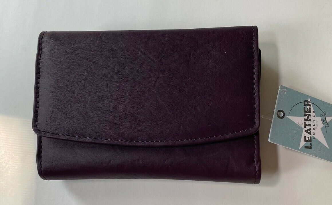 Mundi Women's Purple/Amethyst Tri-fold Leather Wallet New with tags
