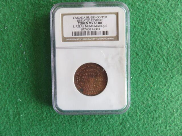 1886 Jos. Leroux Montreal  BRETON# 583 Var. 3 W/ BEAVER Mintage : 86 NGC MS63 RB