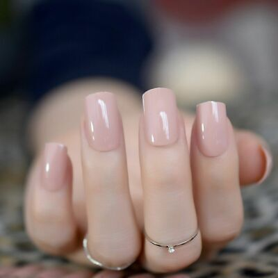 Nude Press On Nails Natural Fake Ombre Nails Neutral Square Stiletto False  UV