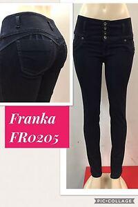 magro vita alta Blu Franka Originale Levantacola scuro Up Jeans Push 0205 nwvO1wAqf