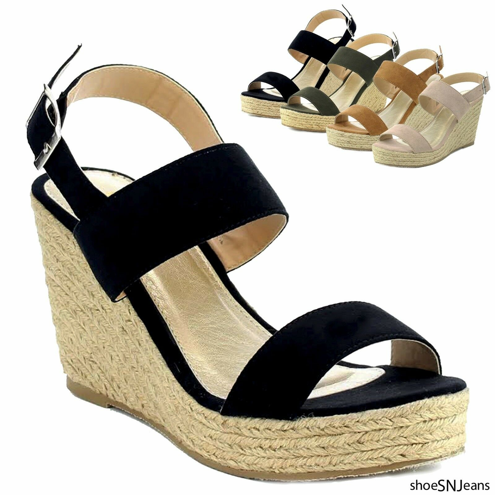 New Women Espadrille Wedge Heel Open Sandal Ankle Strap Platform Open Heel Toe Shoes 5aae28