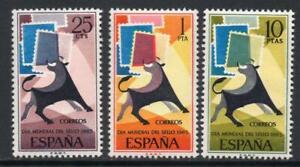 ESPANA-1965-SERIE-NUEVA-SIN-FIJASELLOS-MNH-SPAIN-EDIFIL-1667-69-DIA-DEL-SELLO