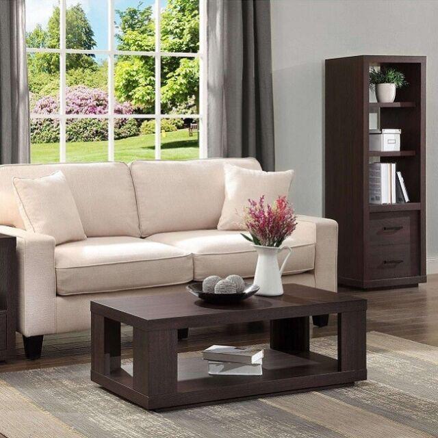 Coffee Table Living Room Furniture Modern Den Family Room Storage Shelf New  Home