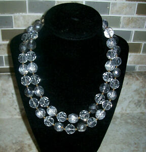 Qvc-Joan-River-Vintage-Style-Firepolish-Clear-Bead-36-034-Goldtone-Necklace