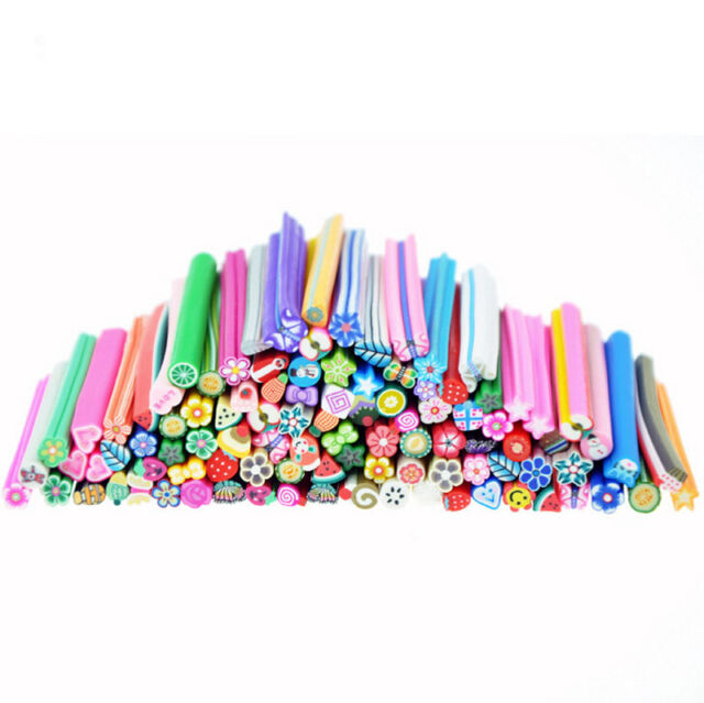 Fimo Nail Art Tips 3D Decoration Polymer Slice Clay Canes DIY Mixed Rods Sticker