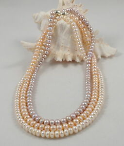 Genuine Oval Freshwater Pearl Necklace & Magnetic Clasp (3 colours & 3 lengths)