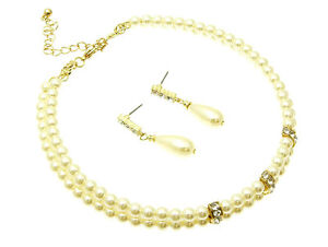 Bridal Accessories Bridal & Wedding Party Jewelry Adroit 77b Gp Bridal 2 Row Cream Faux Pearl Choker Necklace Set W/ Crystal Accents 100% High Quality Materials