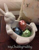 Pottery Barn Belly Bunny Easter Candy Dish Rabbit Adorable Bowl