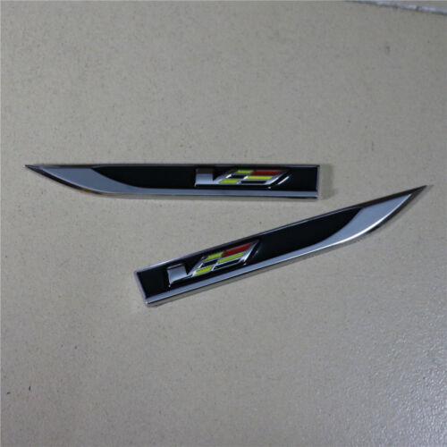 Pair Black V Sharp Metal Fender Badge Decal Sticker Emblem cts ats xts Turbo #5