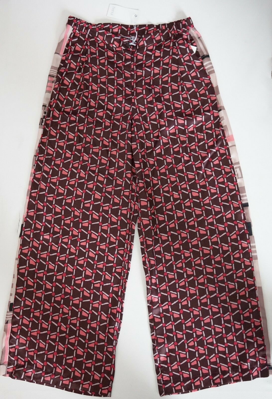 NWT Authentic HANUI SILK Blend WIDE Dress Pants Trousers IT-42 US-4 CA-6 ITALY