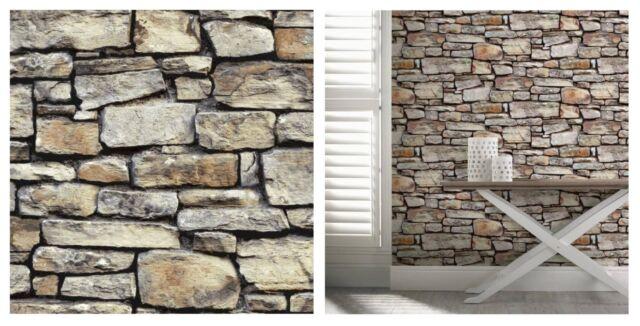 Arthouse Cornish Stone Brown Brick Wall Slate Grey Wallpaper 668900 SAMPLE ONLY