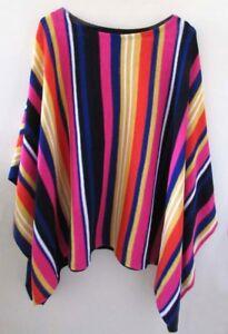 NWT-LAUREN-Ralph-Lauren-Striped-Knit-Poncho-Multicolor-Cotton-Linen-One-Size