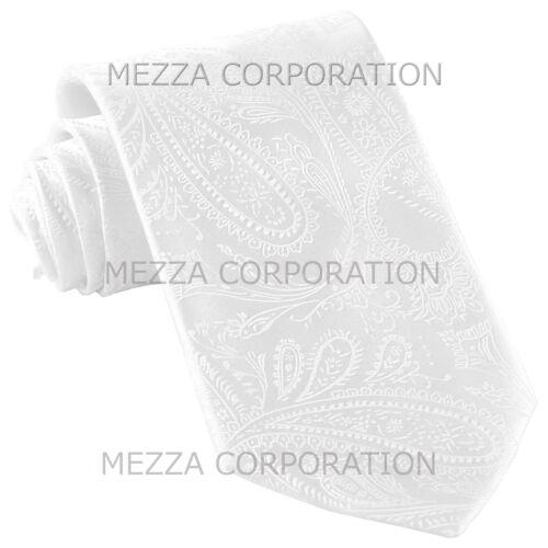 New Vesuvio Napoli polyester Men/'s necktie paisley wedding formal prom White
