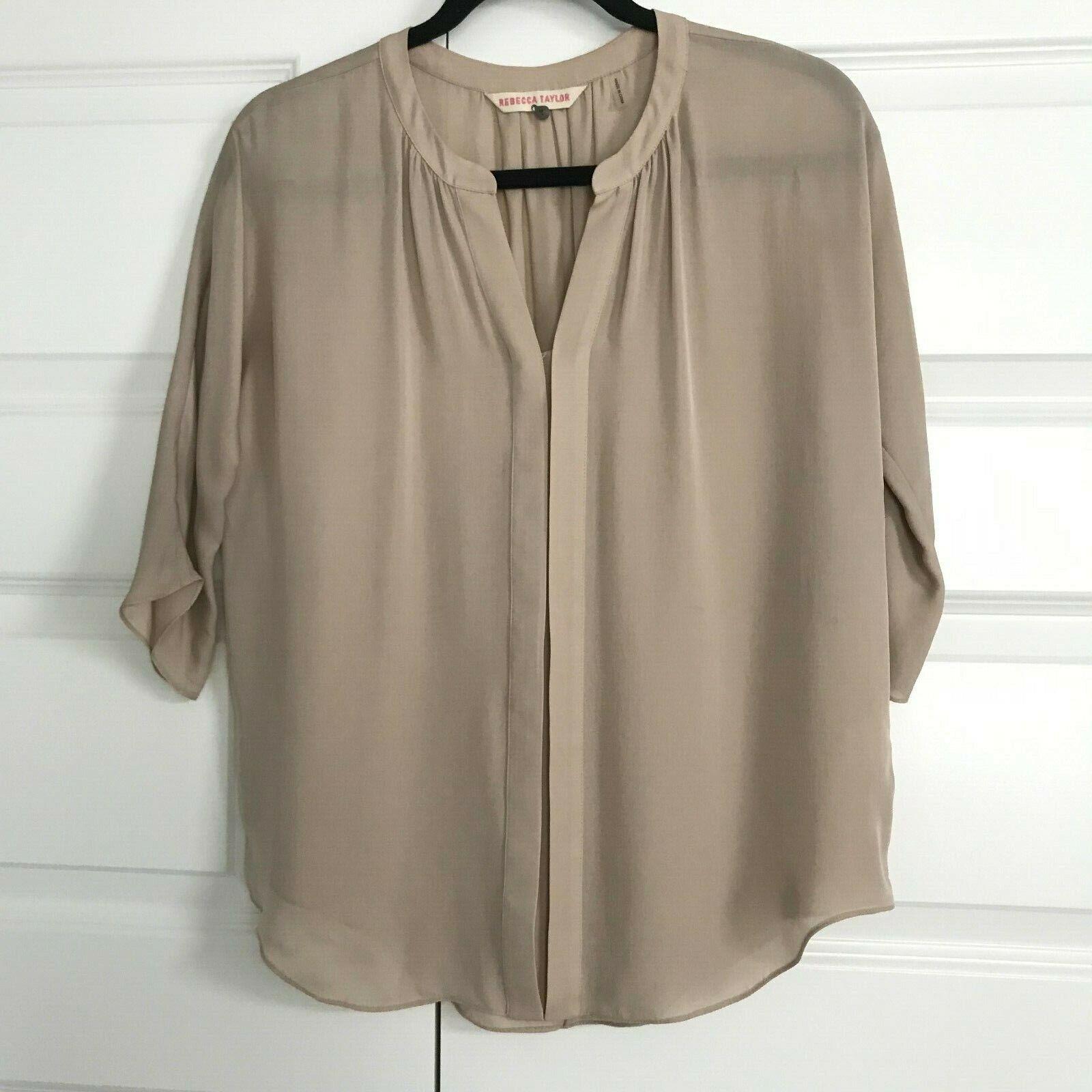 REBECCA TAYLOR damen Nude Beige 100% Silk Collarless 3 4 Sleeve Blouse Hemd 4