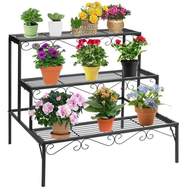 3 Tier Stair Style Metal Plant Stand Garden Shelf Large Flower Pot Display Rack For Sale Online Ebay