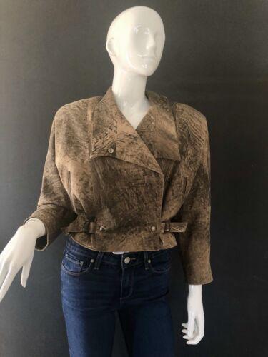 Vintage Leather Jacket 80's Philip Noel Acid Washe