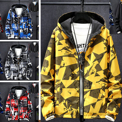 Men Fashion Print Hooded Jackets Casual Jacket Male Outwear Both Side Coat Tops