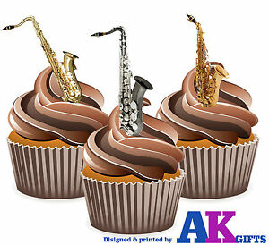 Details about Saxophone Mix 12 Edible Stand Up Cup Cake Toppers Blues Jazz  Ribbon Decorations