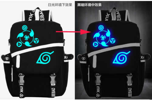 Men Women Anime Naruto Sharingan Luminous Satchel Backpack Shoulder School Bag
