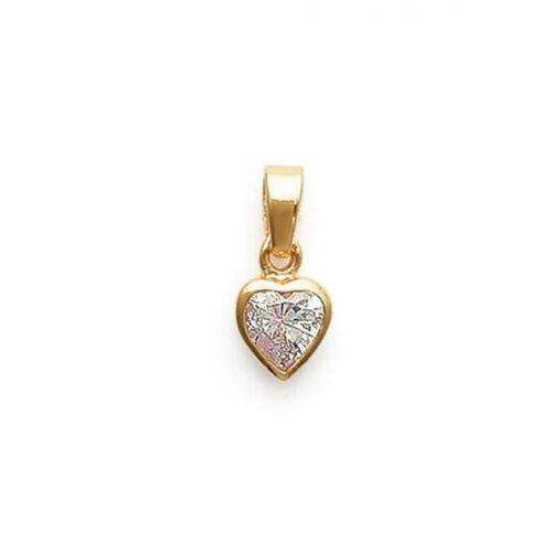 PENDENTIF Petit Coeur Plaqué OR /& zirconium neuf Pour Femme