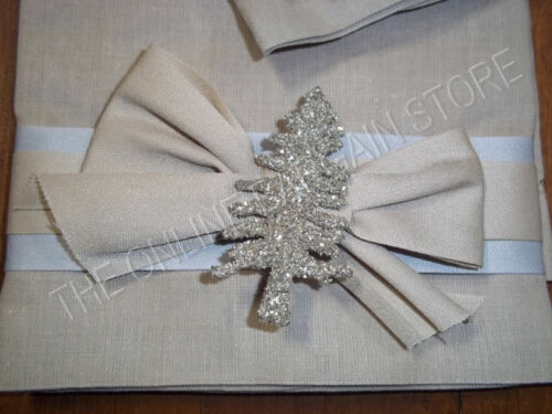2 Frontgate Christmas Glitter Sparkle Guest Hand Towels Towel Linen Taupe