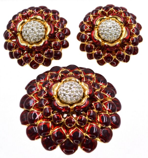 Judith Leiber Brooch Earrings Set Chrysanthemum Flower Enamel Gold Red Burgundy