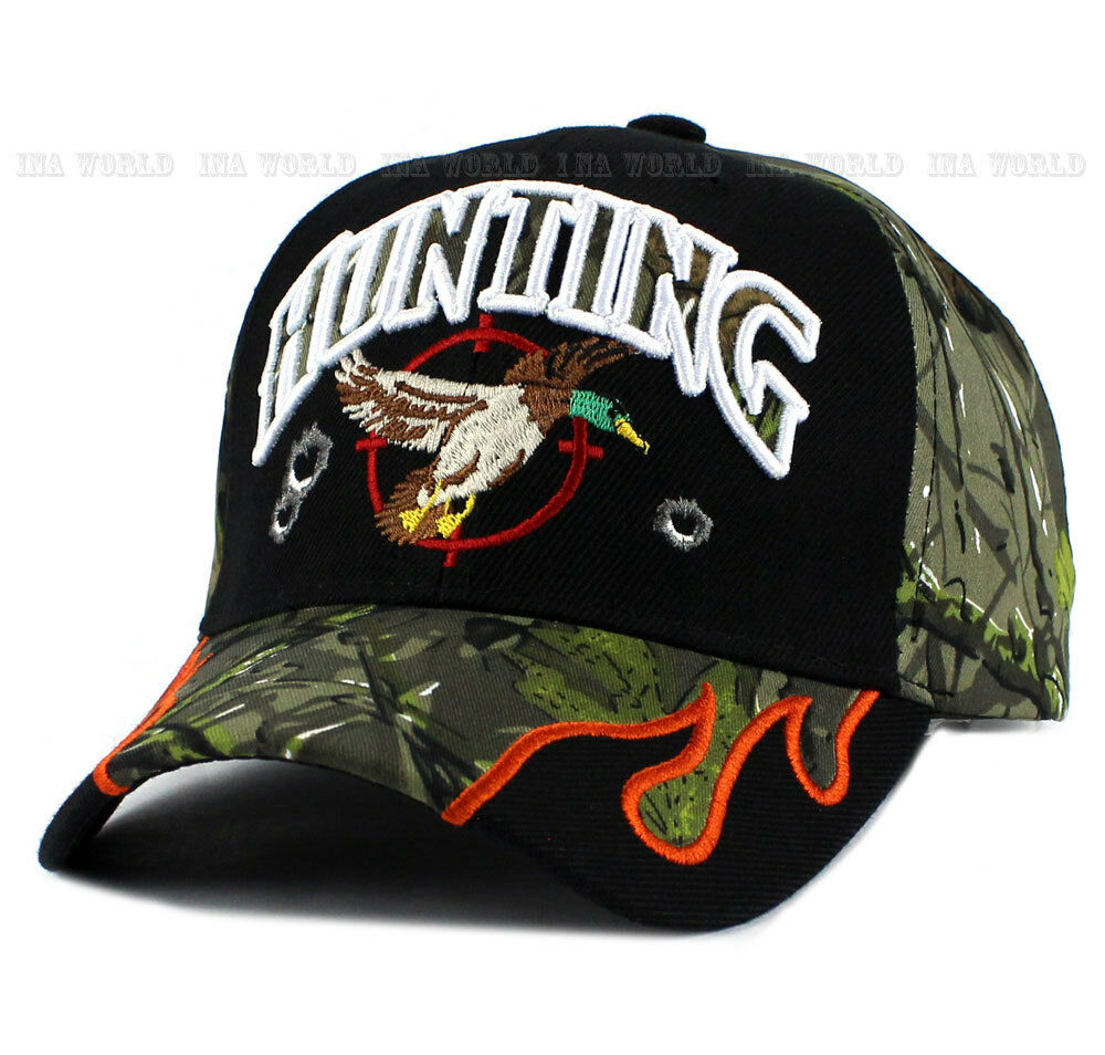 2cd9f1145b1 HUNTING DUCK hat Baseball Outdoor Sports Hunter camo Baseball hat cap Size  Adjustable- Black 461584